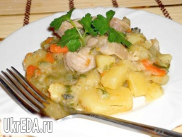 Ароматний картопля з м'ясом і зеленню