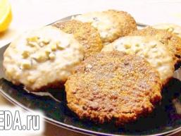 Вівсяне печиво в лимонної глазурі і з карамельною скоринкою. Пісний варіант.
