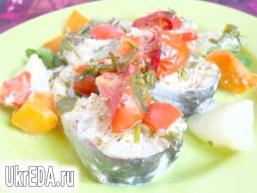 Риба запечена з овочами в вершках