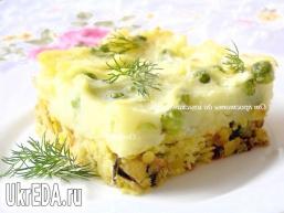 Шепардскій пиріг з жовтою сочевицею і мідіями