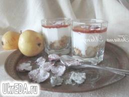 Сирний десерт з грушами і медом