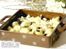 Запечена кольорова капуста із заправкою з маслин
