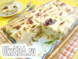 Запіканка з фаршированих макаронів під сирним соусом!