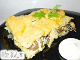 Запіканка з грибами і картоплею