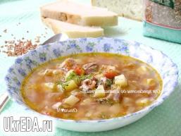 """Томатний суп зі свининою і рисом """"Рубін"""""""